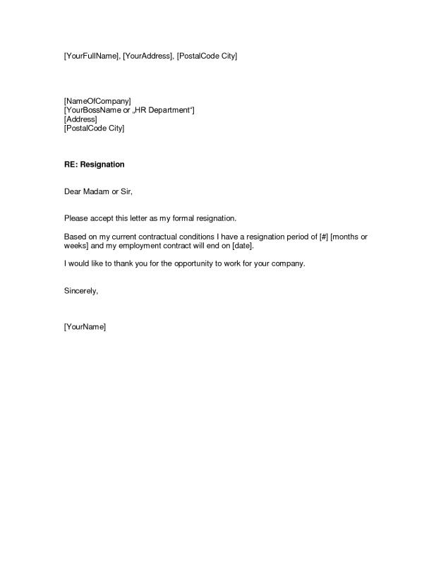 Free Resignation Letter  Template Business