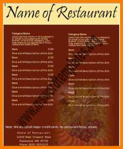 free restaurant menu templates for word free restaurant menu templates for microsoft word