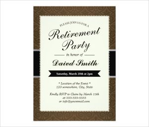 free retirement party invitation templates for word classy brown retirement party invitation