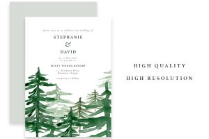 free rustic wedding invitation templates rustic forest watercolor backgrounds geometric rose gold wedding invitation clipart conifers pine trees mountains hills woodland graphics
