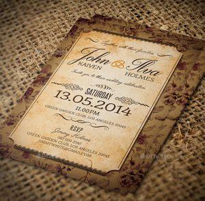 free rustic wedding invitation templates vintage post card wedding invitation
