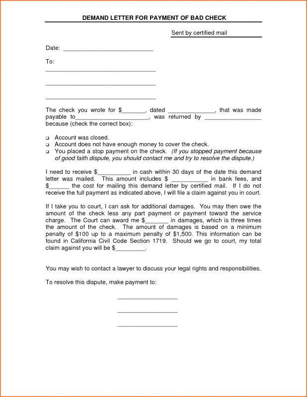 Free Sample Demand Letter For Payment