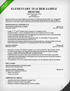 free sample resume for teachers elementary teacher resume sample