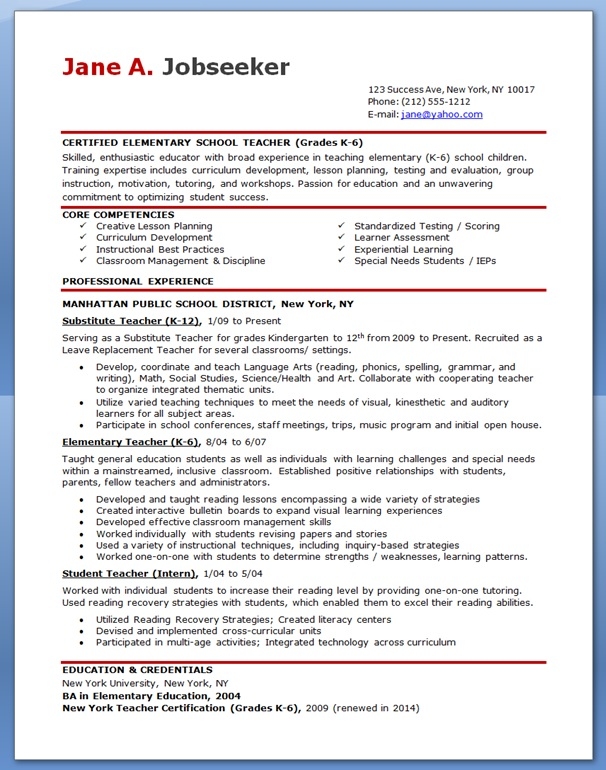 free sample resume for teachers