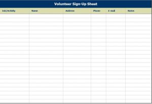 free sign up sheet sheets volunteer sign up sheet template sample free download