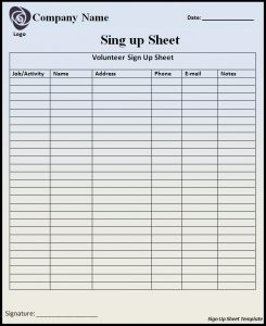 free sign up sheet sign up sheet template