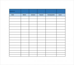 free spreadsheet template password log spreadsheet free excel template download
