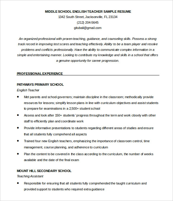 Free Teacher Resume Templates  Examples Of Teaching Resumes