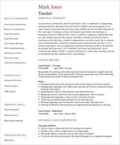 free teacher resume templates teacher job curriculum vitae
