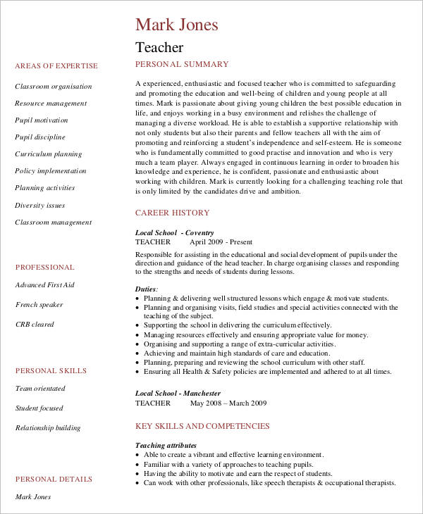 Free Teacher Resume Templates  Template Business