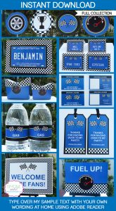 free water bottle labels blue race car printable party