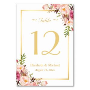 free wedding place card template elegant chic pink floral gold wedding table number card rcedbafbacaadbe ig byvr