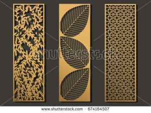 free wedding place card template stock vector laser cut template panels set die cut geometric pattern rectangle shape for metal wooden paper