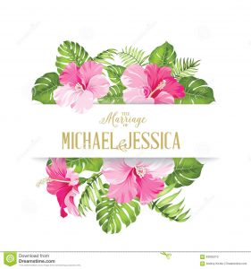 free wedding place card template tropical flower frame your card design clear space text wedding template calligraphic text place your