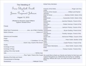 free wedding program template download free wedding program template editable pd