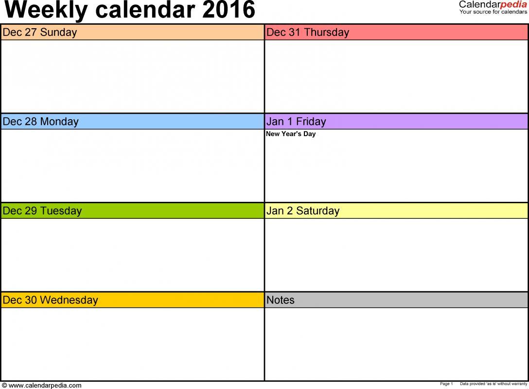 free weekly calendar