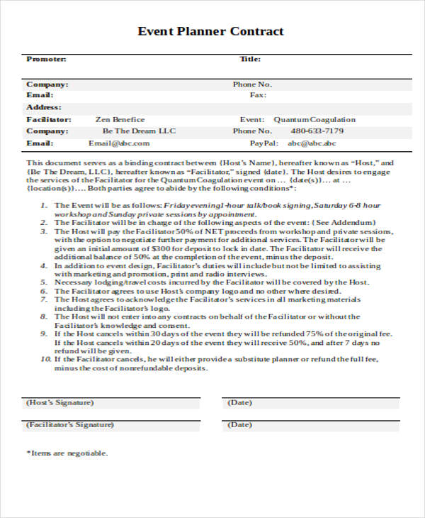 Good Template   Hillaryrain.co   Best Resumes And Templates For Your ... Regarding Event Planner Contract Example