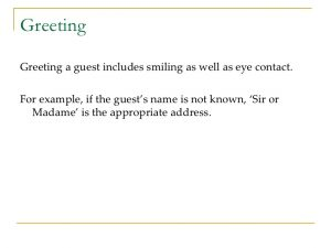 friendly letter greetings guest services in hospitality industry