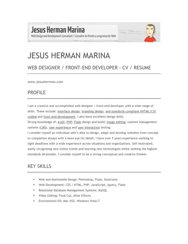 Front End Developer Resume Template Business