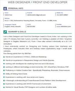 front end developer resume front end developer resume pdf