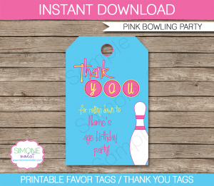 frozen party invitations bowling pink party favor tags