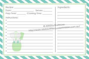 full page recipe template for word x recipe card style front