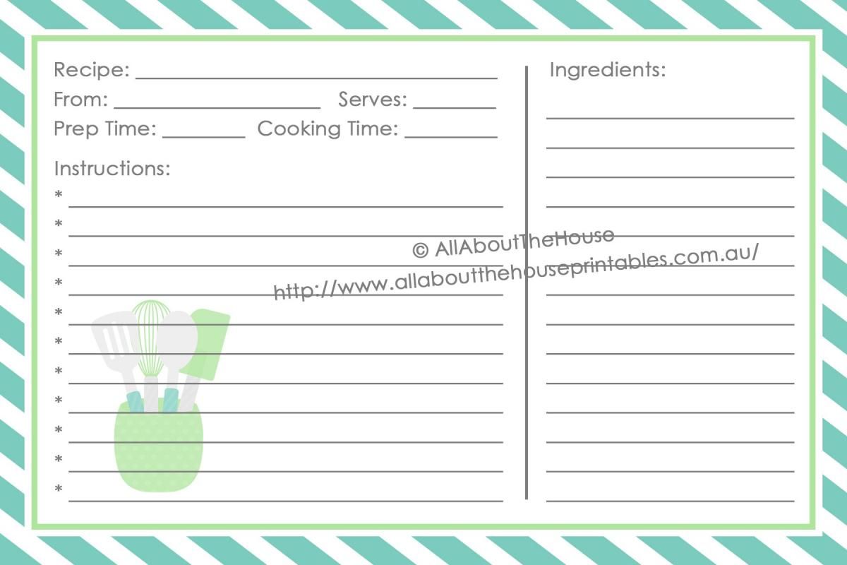 full page recipe template for word template business
