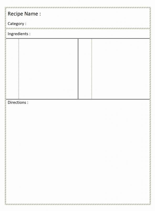 Full Page Recipe Template For Word | Template Business