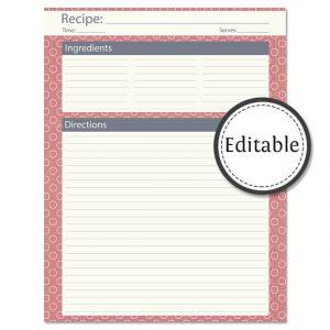 full page recipe template for word il xn pkf
