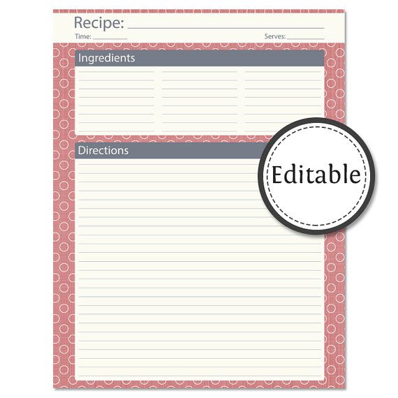 full page recipe template for word
