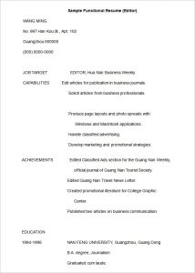 functional resume template sample functional resume editor - Sample Functional Resumes