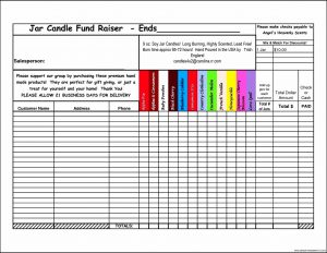 fundraiser order form candle fundraiser order form template