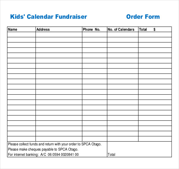 photograph relating to Printable Order Forms Templates named Fundraiser Get Sort Template Office