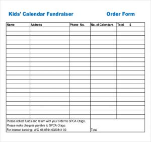 fundraiser order form template example kids calendar fundraiser order form download