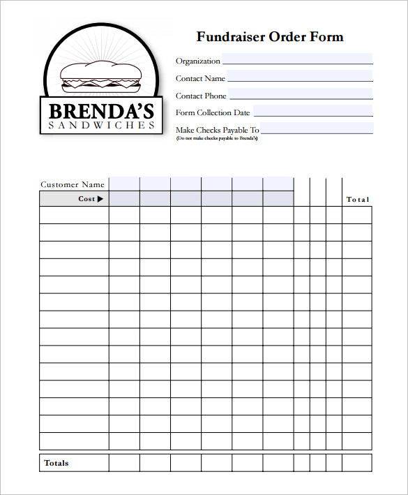 fundraiser order form template