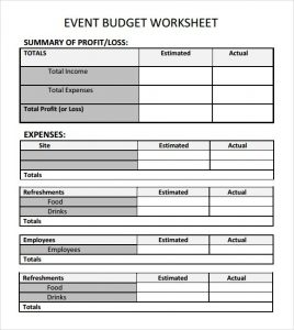 fundraising plan templates event budget template