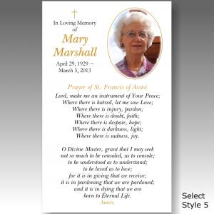 funeral prayer cards funeral prayer card mspc