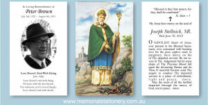 funeral prayer cards glorious saint patrick funeral prayer cards funeral thank you cards stationery catholic holy cards printed in australia