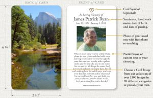 funeral prayer cards mpc card outline