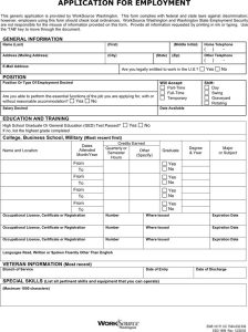 general application for employment employment application form