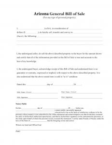general bill of sale form arizona general bill of sale form 791x1024