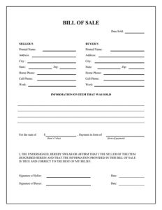 general bill of sale pdf general bill of sale form