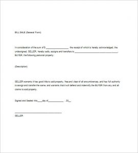 general bill of sale pdf general bill of sale word template