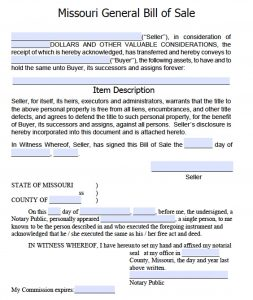 general bill of sale pdf missouri general bill of sale