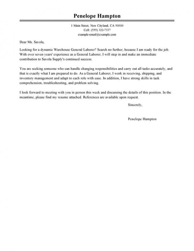 General Cover Letter  Template Business