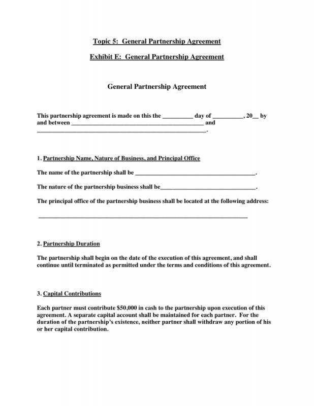 General Partnership Agreement  Template Business