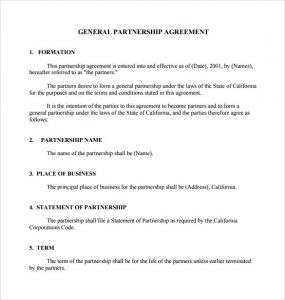 general partnership agreement general partnership agreement download