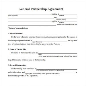 general partnership agreement simple general partnership agreement