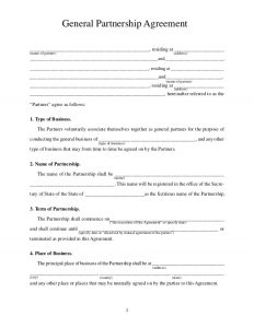 general partnership agreement template general partnership agreement