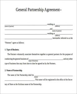 general partnership agreement template general partnership agreement form